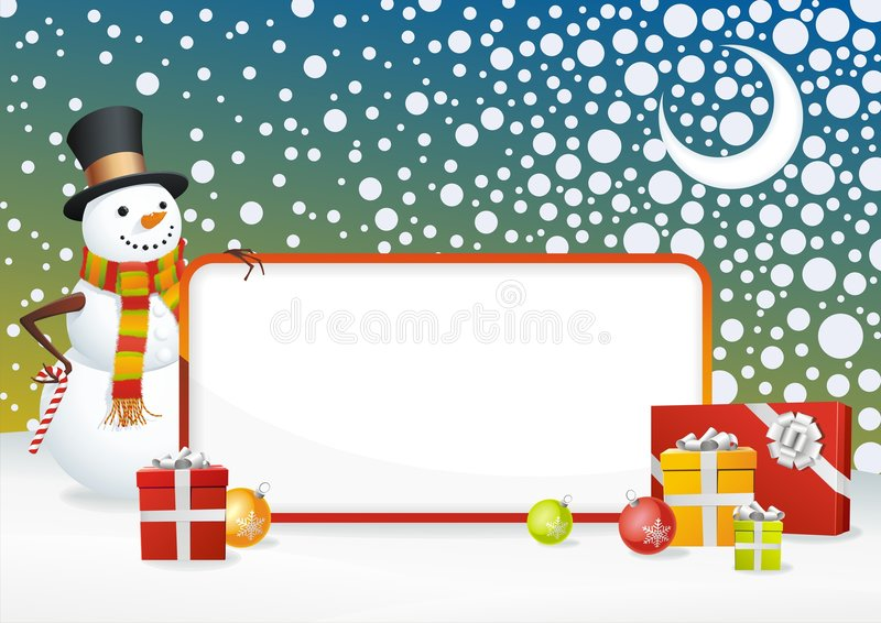 inramnin snowmanen royaltyfri illustrationer