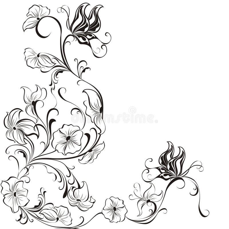 inramniner blom- blommor för fjärilar vektorn stock illustrationer