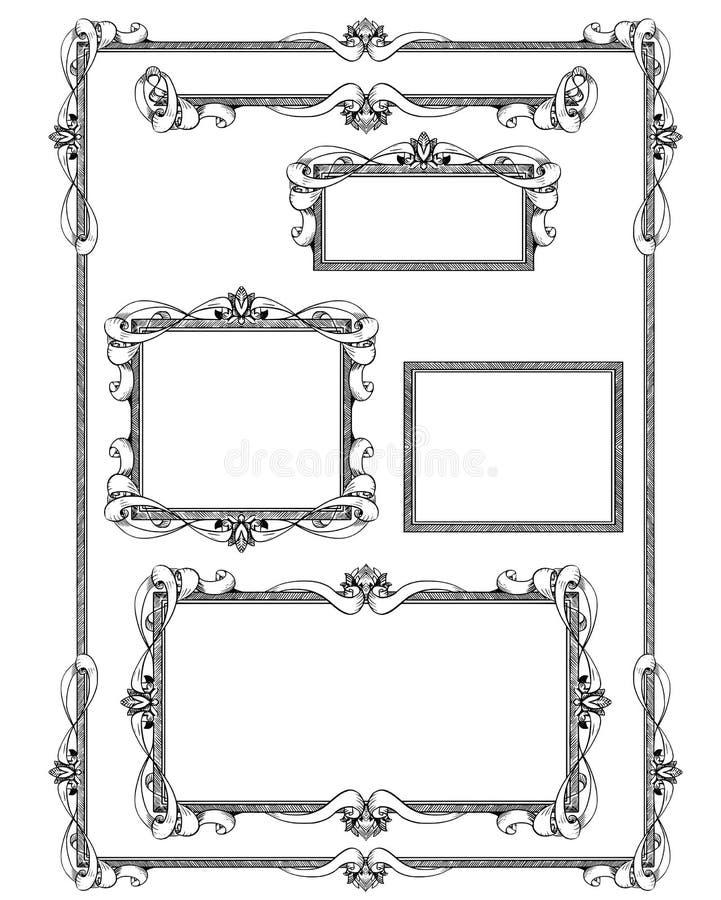 inramniner den dekorativa seten vektor illustrationer