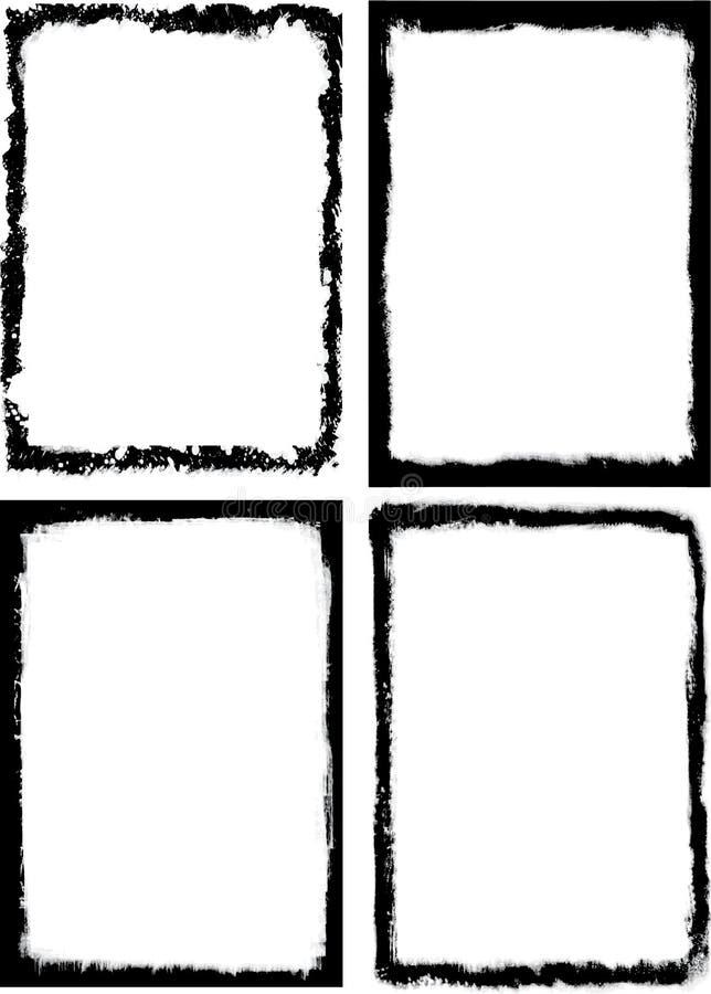 inramniner den grungy seten för grunge vektor illustrationer