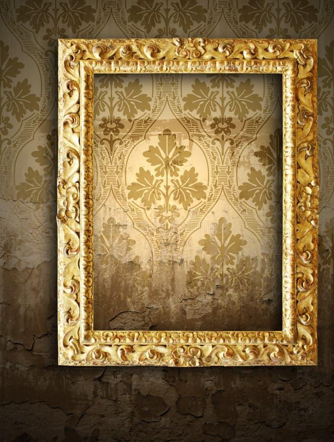 inramniner den retro wallpaperen för guld stock illustrationer