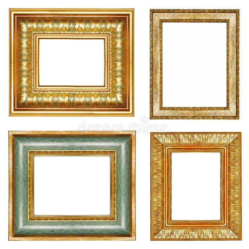 inramniner guld- stock illustrationer
