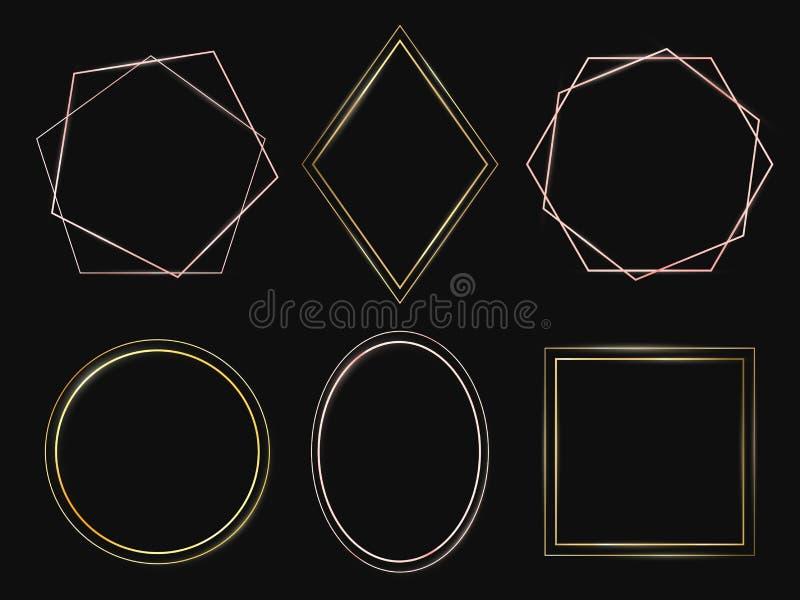 inramniner guld- Rosa guld- ram, högvärdiga minimalist tunna gränser och rik cirkelvektoruppsättning royaltyfri illustrationer