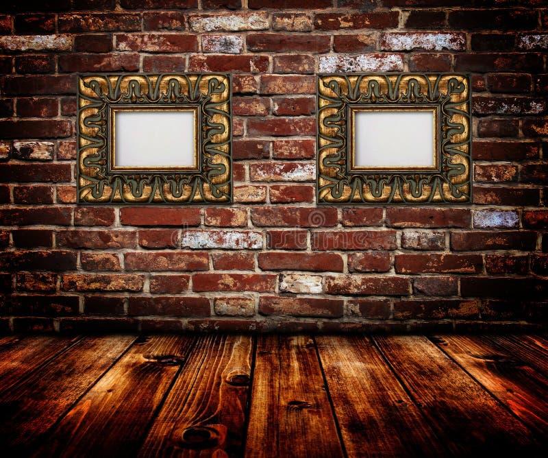 inramniner guldväggen fotografering för bildbyråer