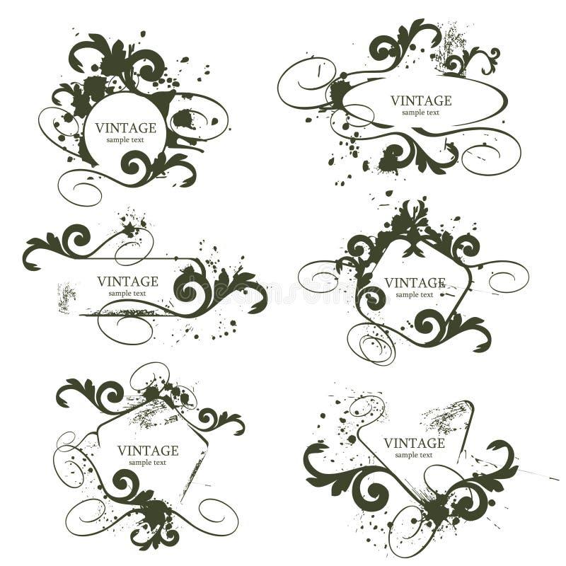 inramniner tappning royaltyfri illustrationer