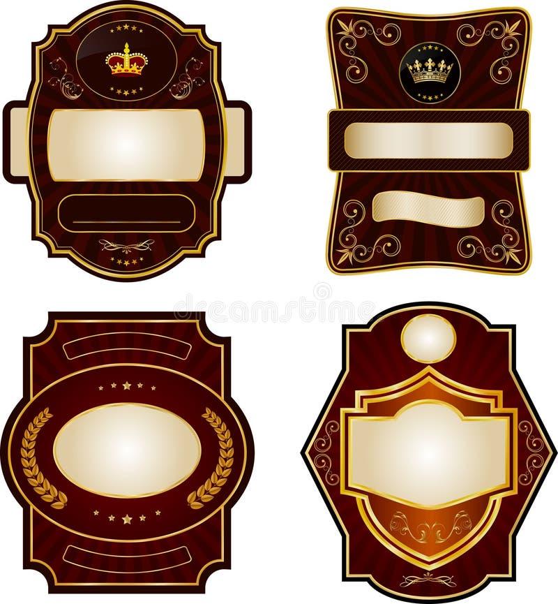 inramning guldetikettset royaltyfri illustrationer