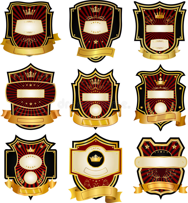 inramning guldetikettset stock illustrationer
