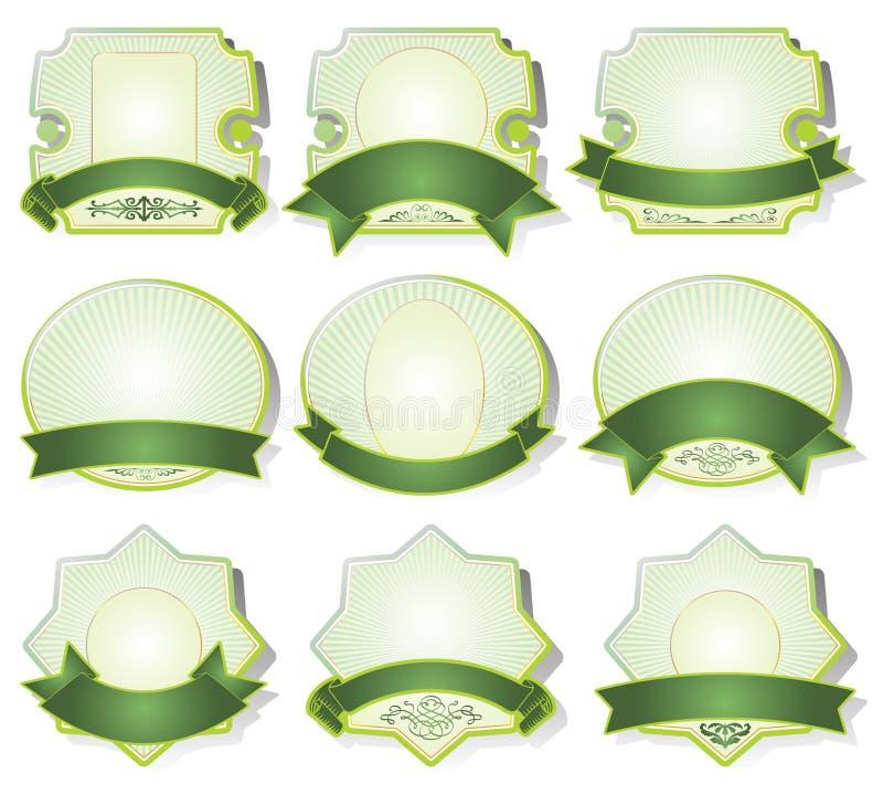 inramninga greenetiketter royaltyfri illustrationer