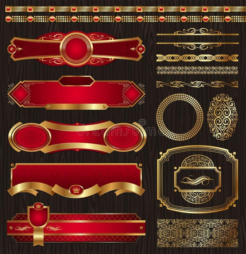 inramninga guld- etikettmodeller ställde in tappning royaltyfri illustrationer