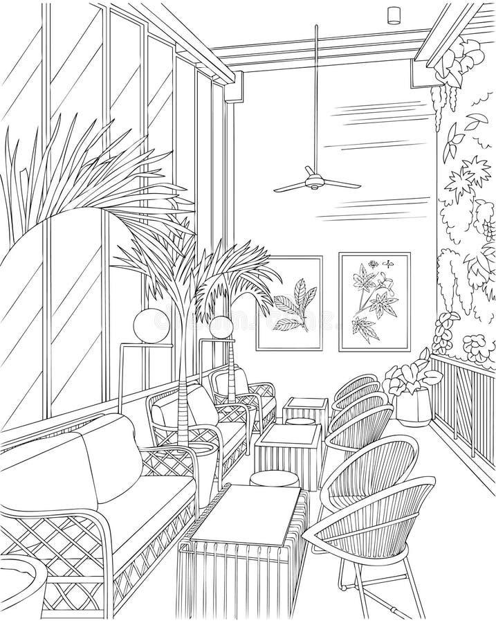 Inre översikt för tropiskt tema för kafé inre royaltyfri illustrationer