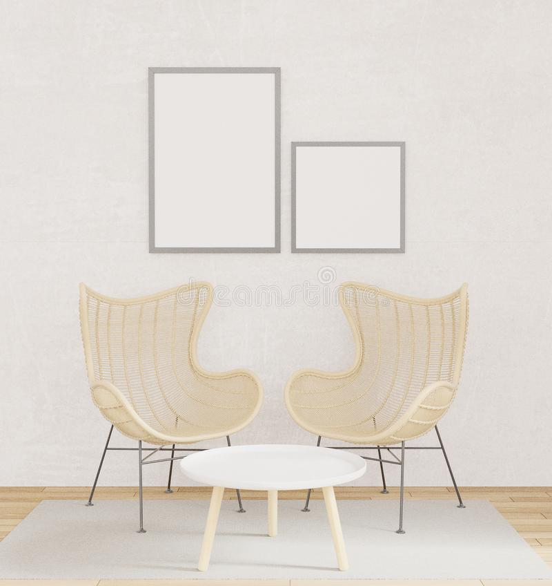 Inre affischåtlöje upp med två stolar, trägolv, matta i vardagsrum med den rå tolkningen för betongväggvindstil 3D royaltyfri illustrationer