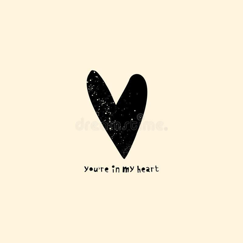 Inre affisch- och t-skjorta designbegrepp Sniden hjärta med lantlig text vektor illustrationer