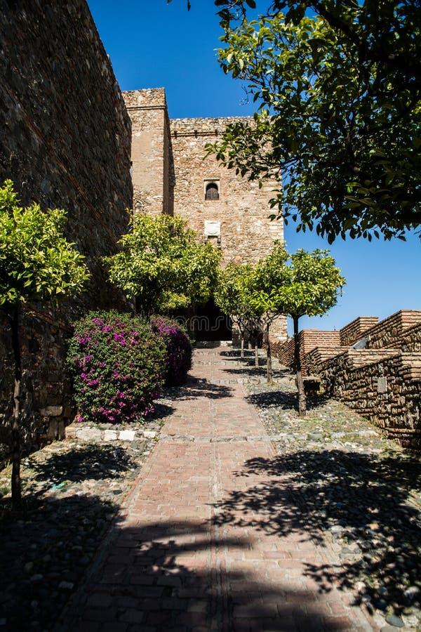 Inre Alcazaba av MÃ-¡ lagaen ( citadel) arkivbilder