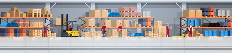 Inre ask för lager på att arbeta för kugge och för folk Horisontalbaner för logistiskt hemsändningbegrepp stock illustrationer