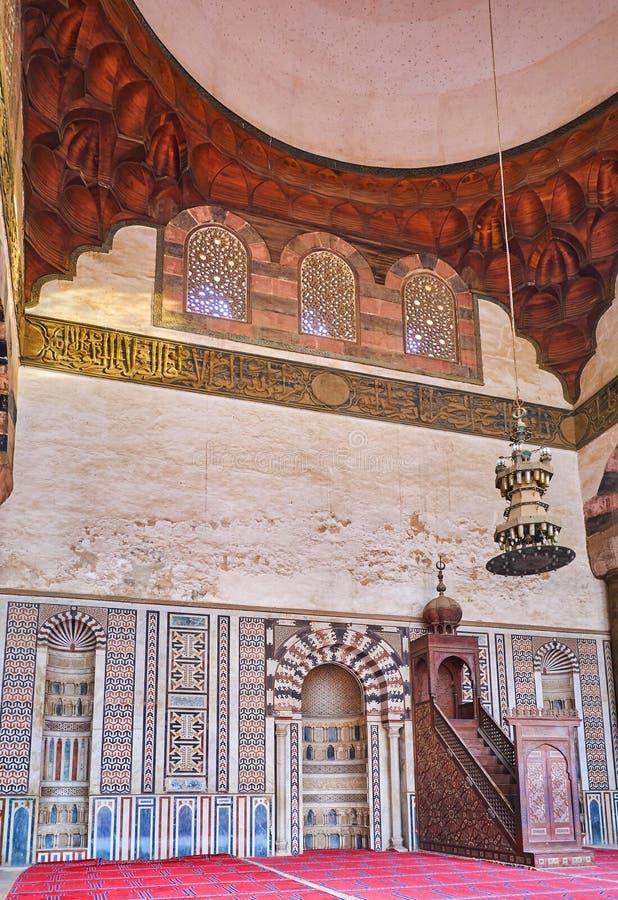 Inre av Al-Nasir Muhammad Mosque, Kairocitadell, Egypten royaltyfria bilder