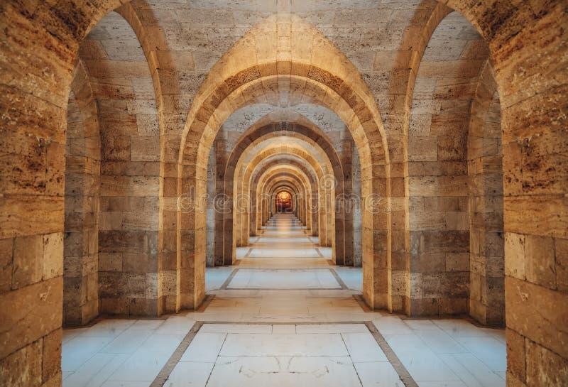 Inre av Anitkabir - mausoleum av Ataturk, Ankara Turkiet fotografering för bildbyråer