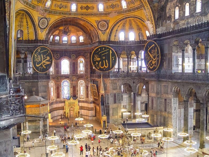 Inre av Aya Sophia i Istanbul, Turkiet arkivbild
