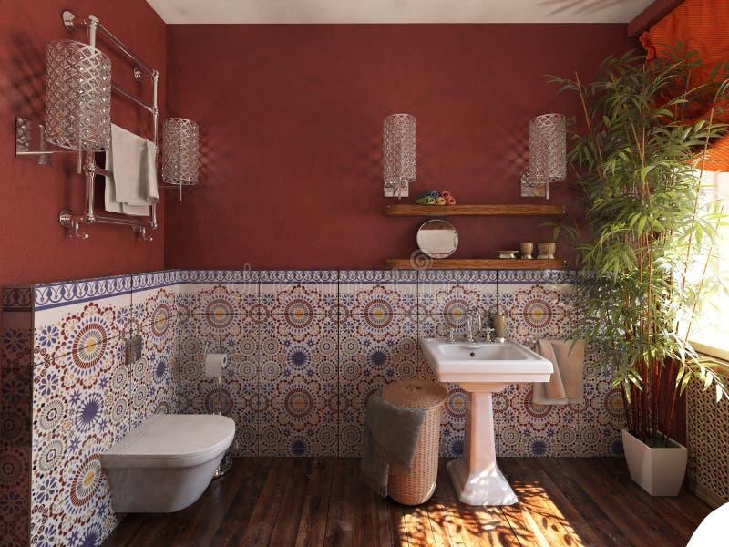 Inre av badrummet i den marockanska stilen royaltyfria foton