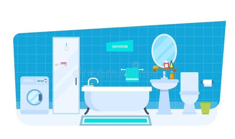 Inre av badrummet, med hushållanordningar, möblemang, hushållobjekt, arkitektur royaltyfri illustrationer