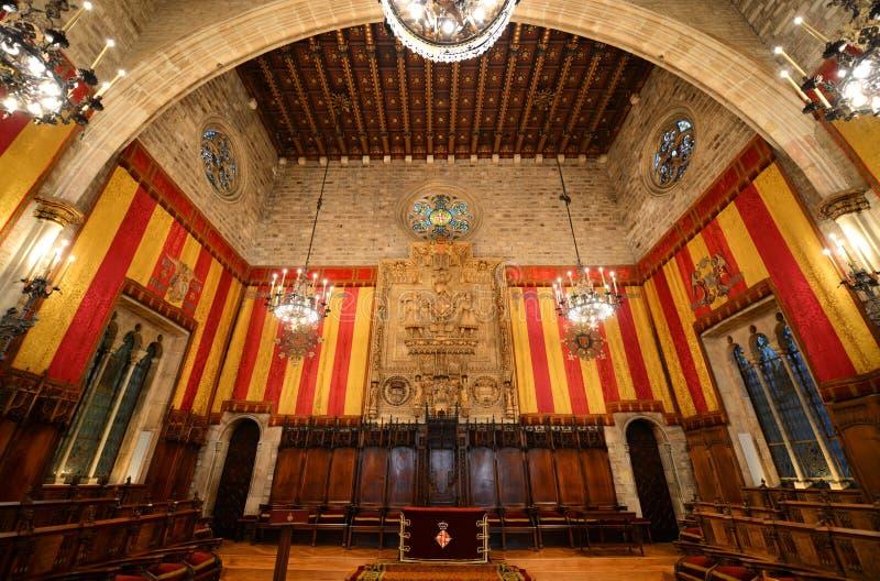 Inre av Barcelonas stadshus, Barcelona, Spanien arkivfoto