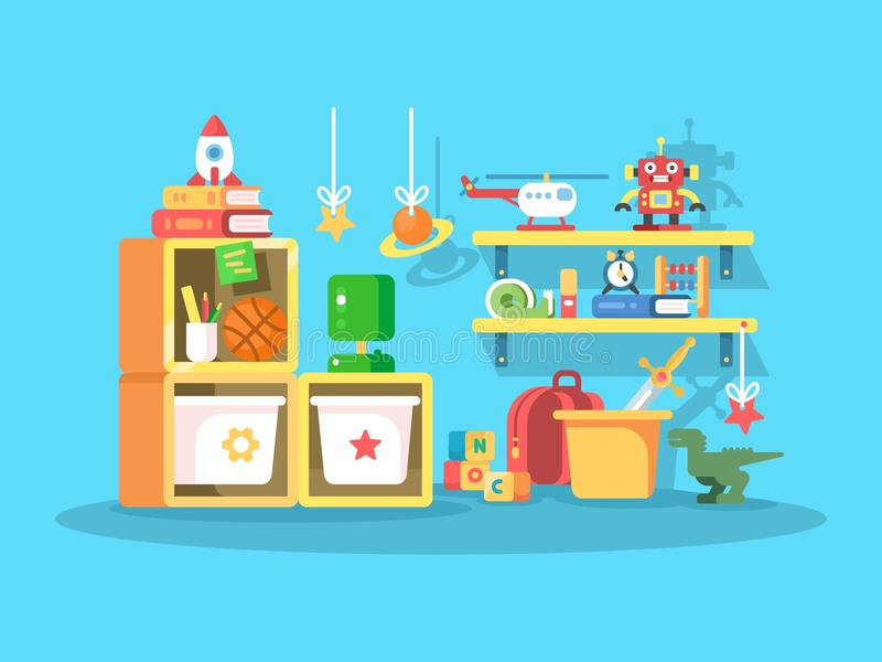 Inre av barnrum stock illustrationer