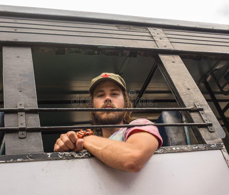 Inre av bussen med passagerare arkivbilder