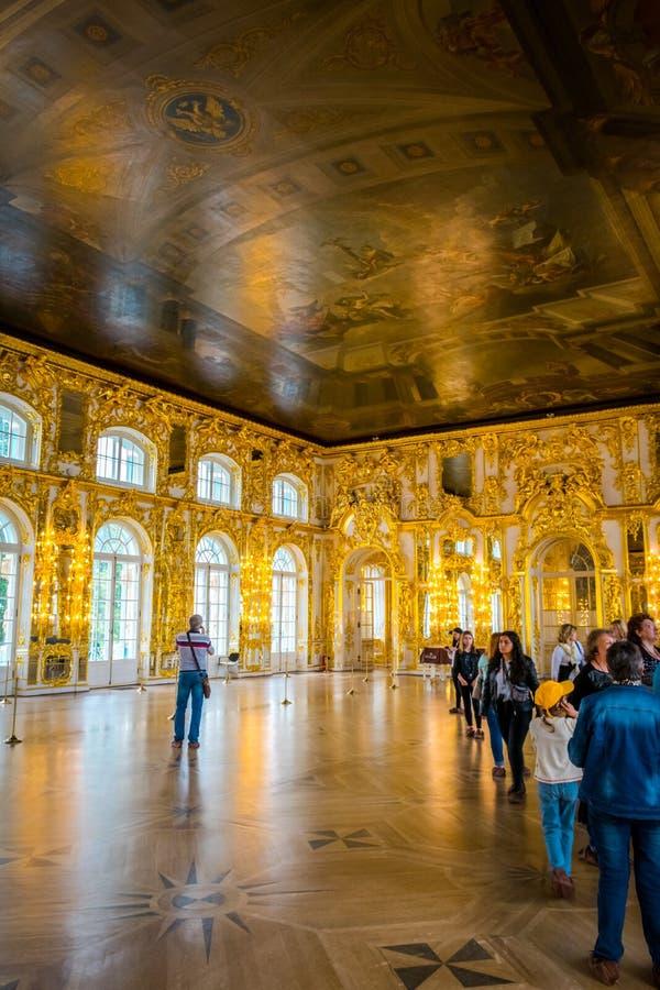 Inre av Catherine Palace i St Petersburg, Ryssland arkivfoto