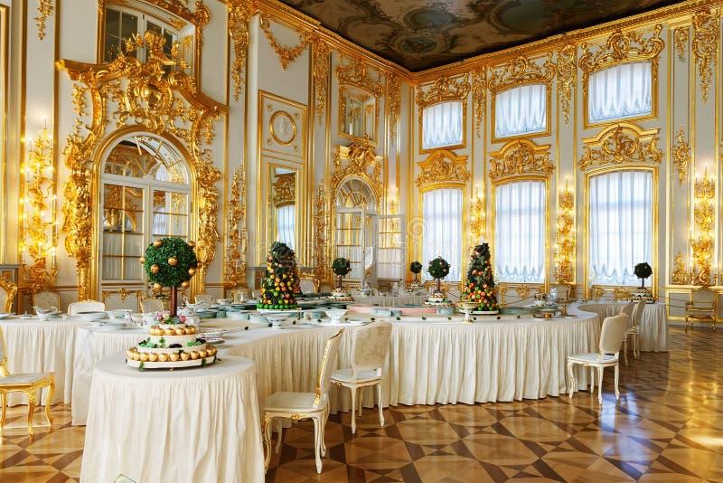Inre av Catherine Palace i Tsarskoye Selo (Pushkin) fotografering för bildbyråer