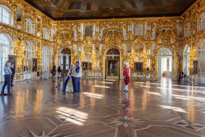 Inre av Catherine Palace i Tsarskoye Selo (Pushkin), ne arkivbild