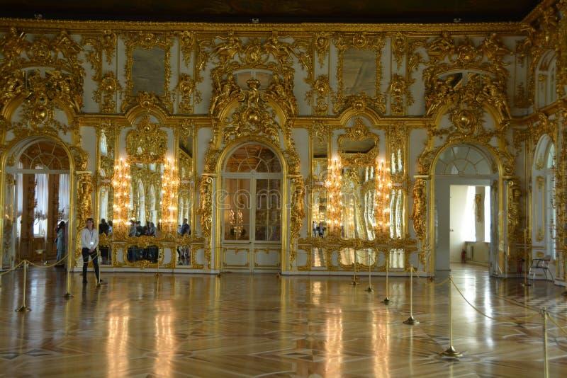 Inre av Catherine Palace nära StPetersburg, Ryssland arkivfoton