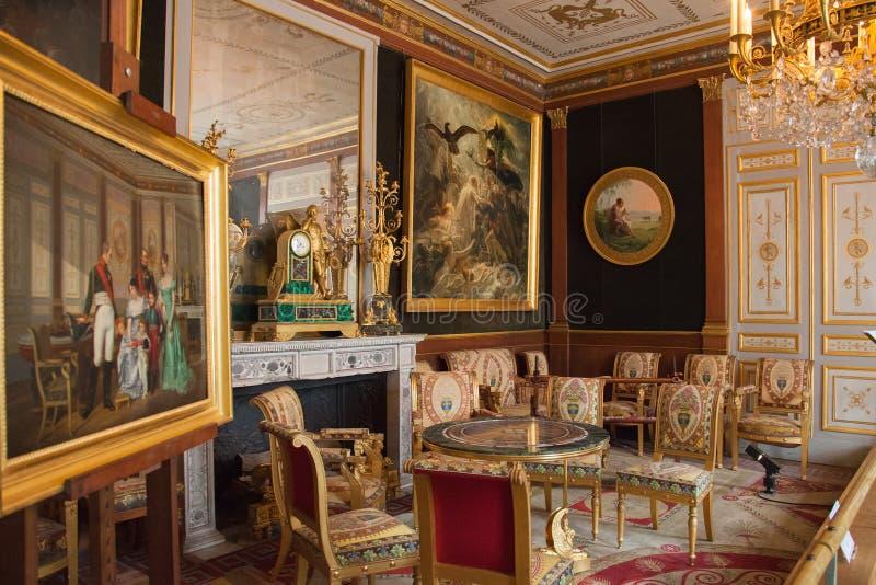 Inre av Chateau de Malmaison, Frankrike royaltyfri foto