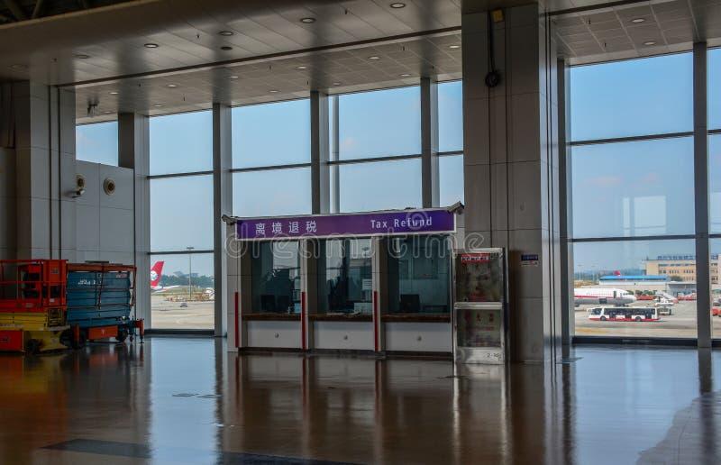 Inre av den Chengdu Shuangliu flygplatsen arkivfoton