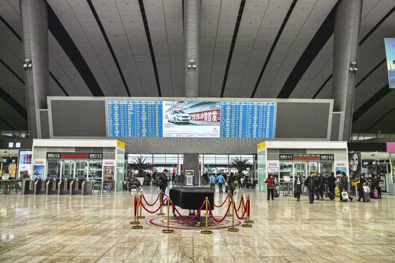 Inre av den järnväg södra stationen för Peking royaltyfri foto