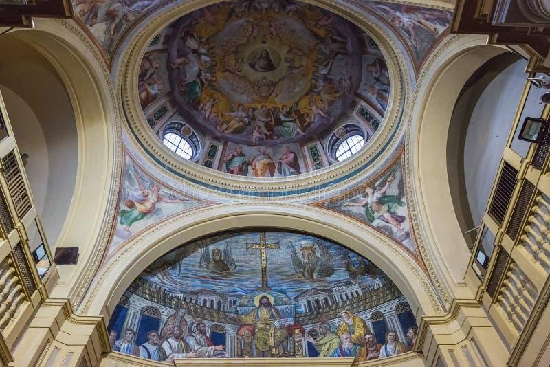 Inre av den kyrkliga Santa Pudenziana, Rome, Italien fotografering för bildbyråer