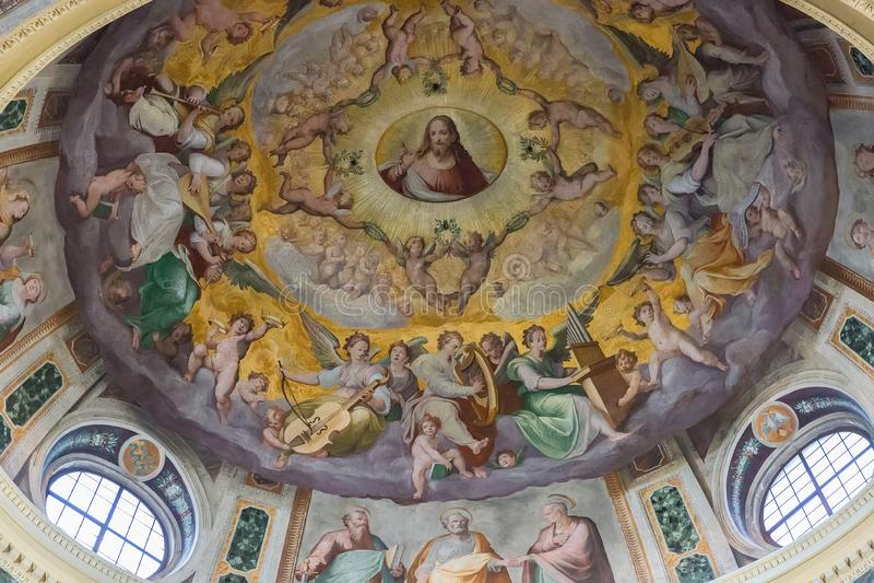 Inre av den kyrkliga Santa Pudenziana, Rome, Italien royaltyfri fotografi