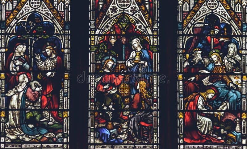 Inre av den Lichfield domkyrkan - slut för målat glassskeppW upp royaltyfria foton