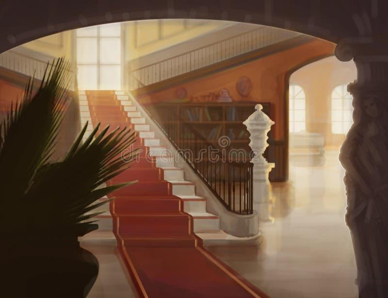 Inre av den lyxiga korridoren med trappuppgångillustrationen royaltyfri foto