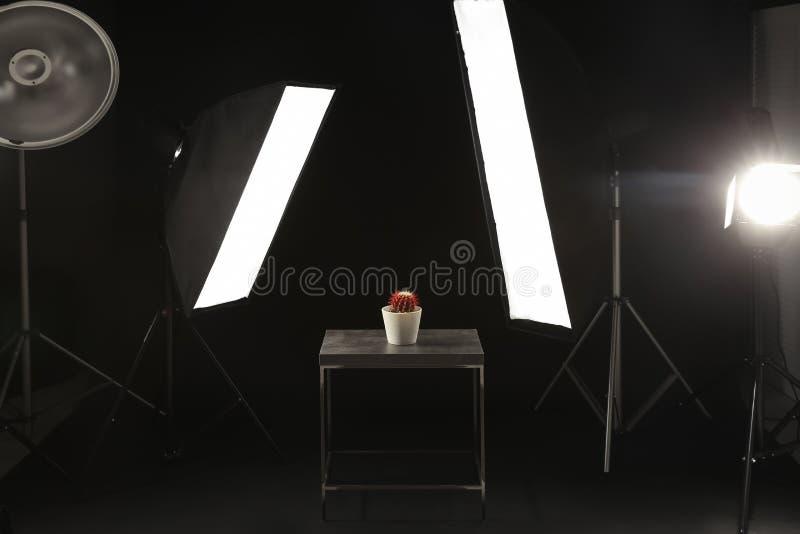 Inre av den moderna fotostudion med tabellen, kaktus royaltyfri bild