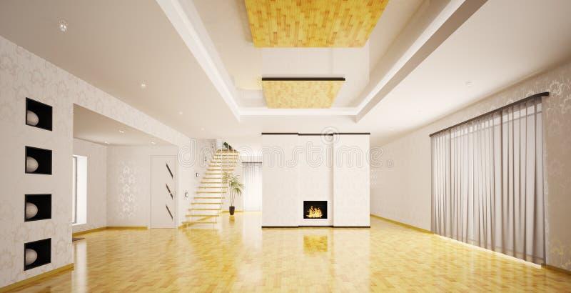 Inre av den moderna tomma lägenhetpanoramat royaltyfri illustrationer