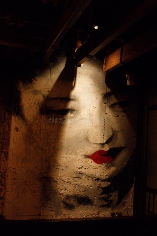 Inre av den Mott 32 restaurangen, kinesisk dam Mural Painting fotografering för bildbyråer