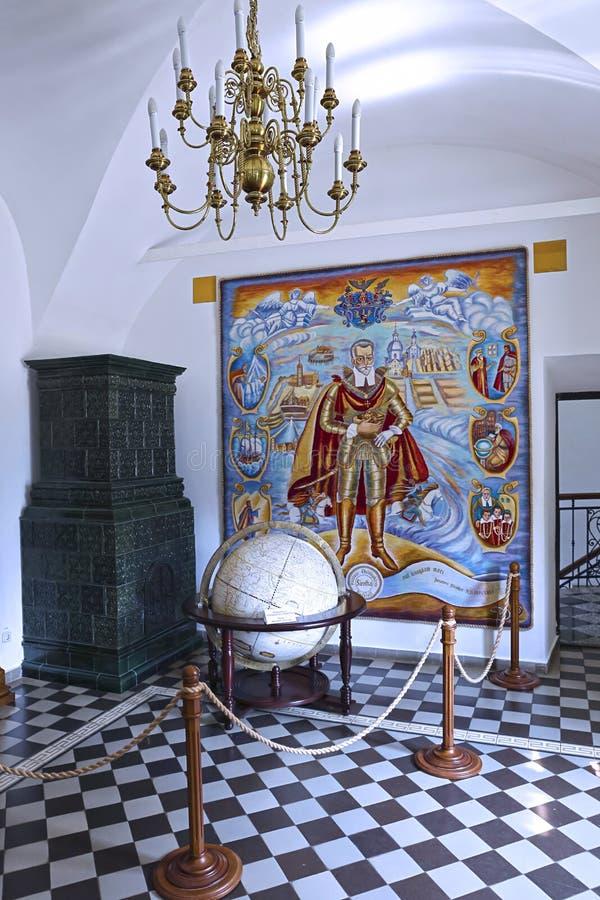 Inre av den Nyasvizh slotten royaltyfri fotografi