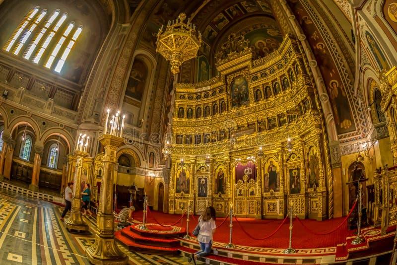 Inre av den Timisoara ortodoxdomkyrkan royaltyfri foto