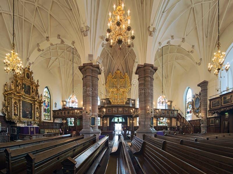 Inre av den tyska kyrkan i Stockholm, Sverige royaltyfri foto