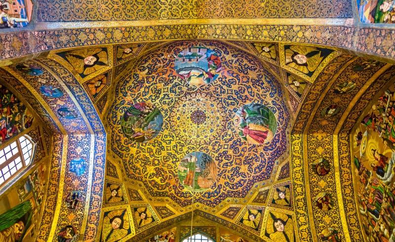Inre av den Vank domkyrkan i Isfahan royaltyfri bild