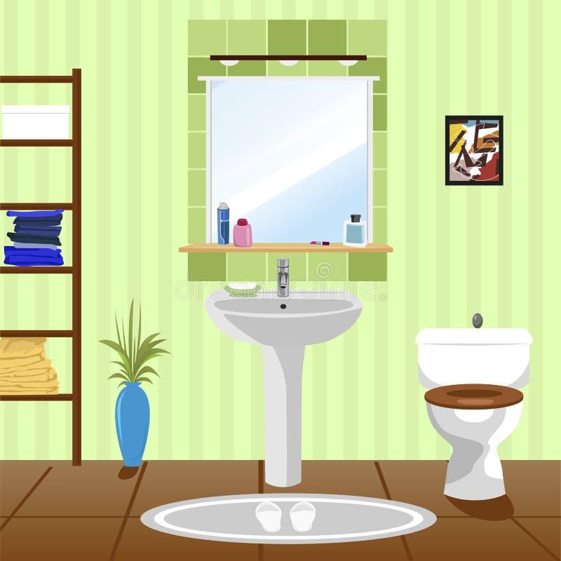 Inre av det gröna badrummet med vasken, toalett vektor illustrationer