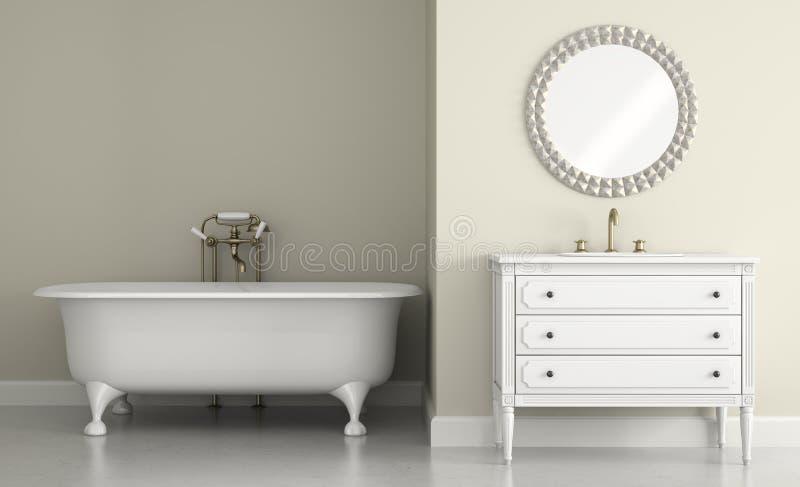 Inre av det klassiska badrummet med den runda tolkningen för spegel 3D stock illustrationer