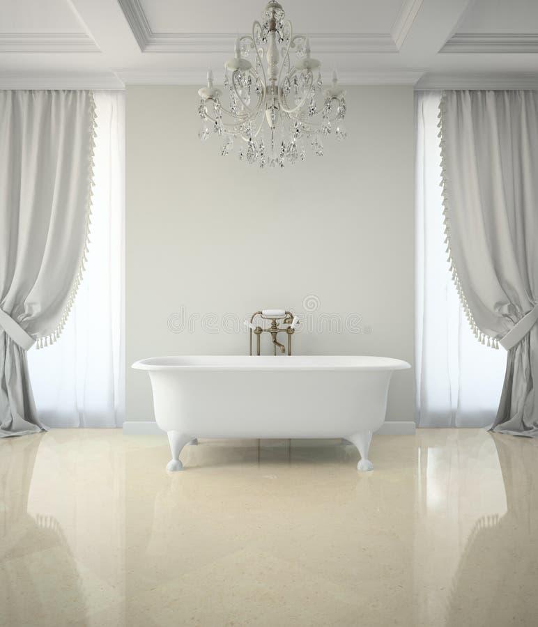 Inre av det klassiska badrummet med tolkningen för ljuskrona 3D stock illustrationer