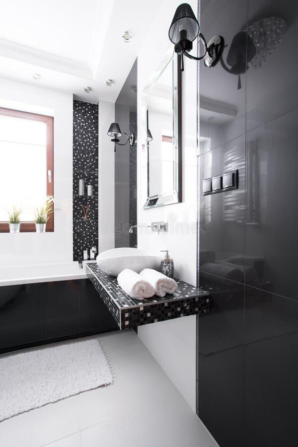 Inre av det lyxiga badrummet arkivfoto