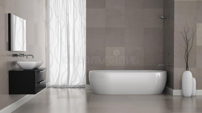 Inre av det moderna badrummet med grå färger belägger med tegel väggen vektor illustrationer