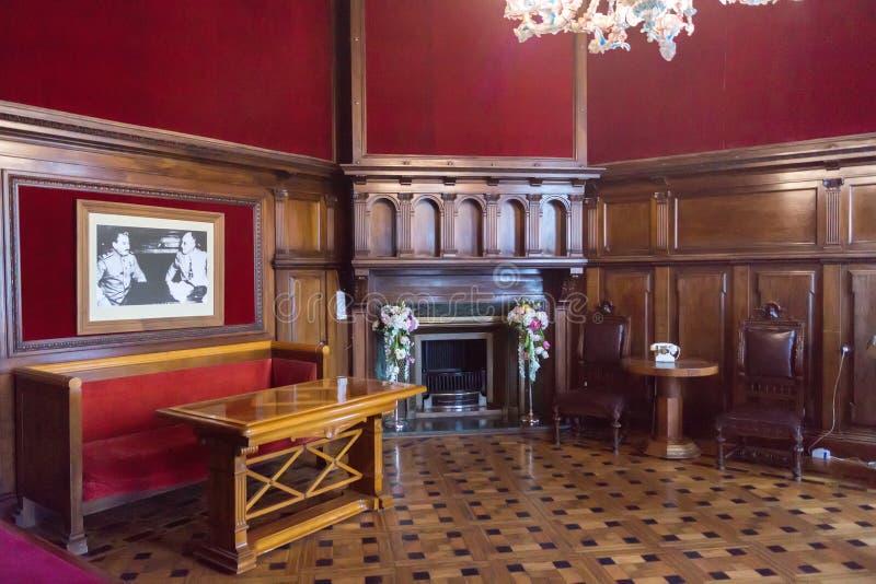 Inre av det väntande rummet i den Livadia slotten arkivbild
